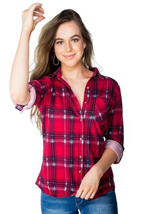 Plaid Sherpa-Lined Shirt with Front Pocket