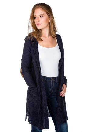 Hooded Open Cardigan with Elbow Patches