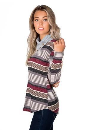 Striped Split Neck Tunic with Buttons