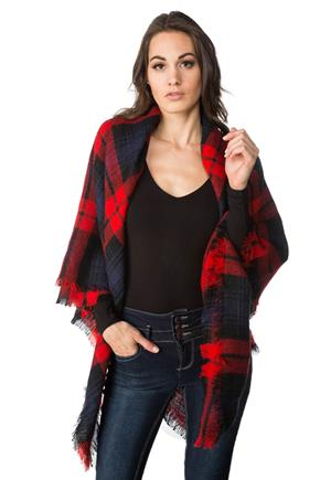 Red, Black and Navy Plaid Blanket Scarf