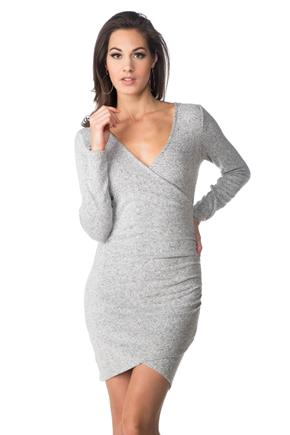 SuperSoft Long Sleeve Bodycon Dress with Ruching