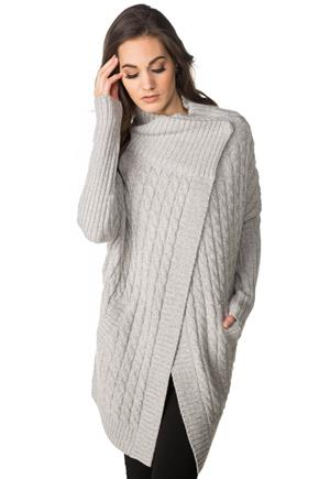 Long Sleeve Wrap Cable Knit Coatigan