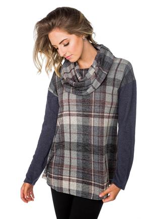 Plaid Tunic with Cowl Neck and Solid Sleeves
