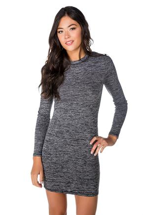 Space Dyed Long Sleeve Bodycon Dress