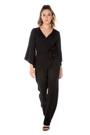 Crossover Bell Sleeve Jumpsuit
