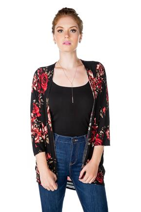 Floral Print Open Cardigan with 3/4 Sleeves