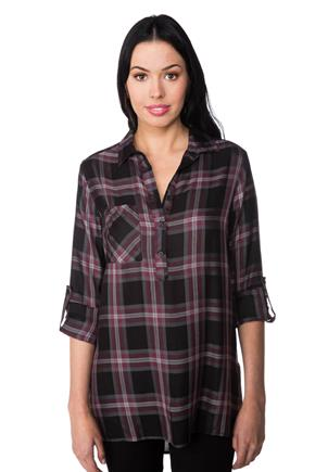 Meghan Plaid Tunic with Side Slits
