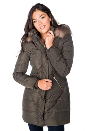 Tattoo Quilted Parka with Fur Trim