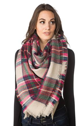 Multicolour Plaid Blanket Scarf with Fringed Edge