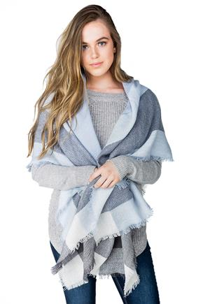 Grey and Blue Plaid Blanket Scarf