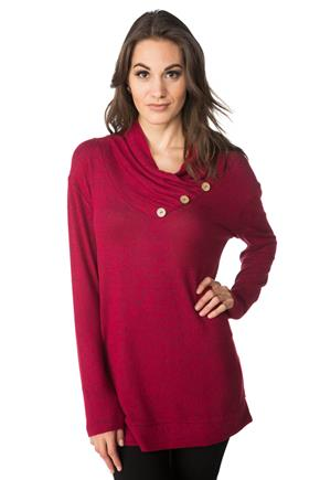 SuperSoft V-neck Tunic with Button Detail