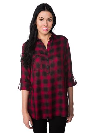 Kaitlyn Plaid Tunic with Side Slits
