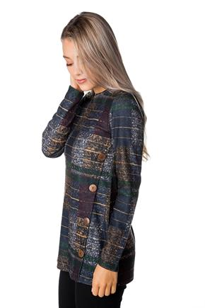 Long Sleeve Plaid Tunic with Button Detail