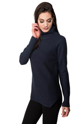 Long Sleeve Turtleneck with Shirttail Hem