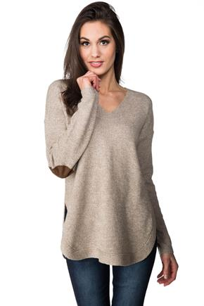 V-neck Sweater with Shirttail Hem and Elbow Patches