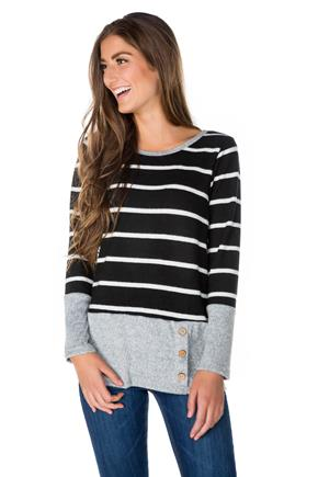 Stripe Long Sleeve Top with Side Buttons