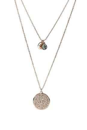 Double Strand Necklace with Rhinestone and Circle Pendant
