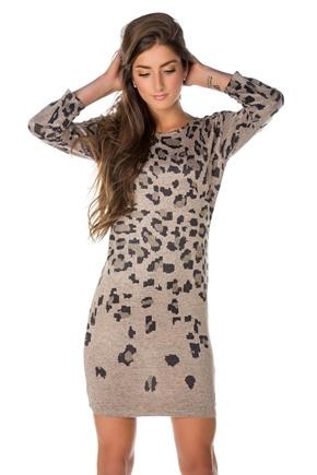 Animal Print Dress with 3/4 Sleeves