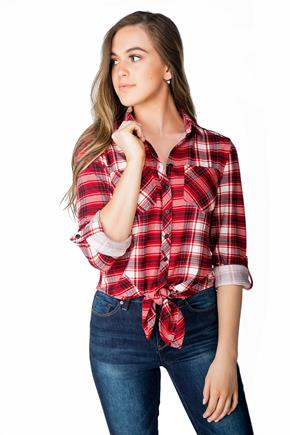 Cozy Plaid Shirt with Tie Front