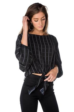 Windowpane Long Sleeve Tie-Front Top