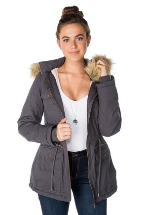 YMI Parka with Removable Faux Fur Trim Hood