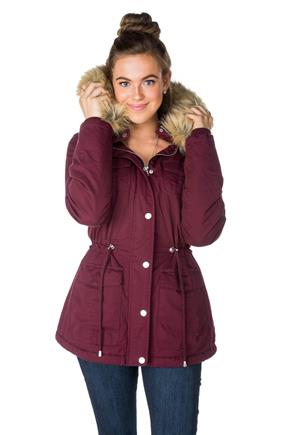 YMI Parka with Removable Fur Trim Hood and Drawstring Waist