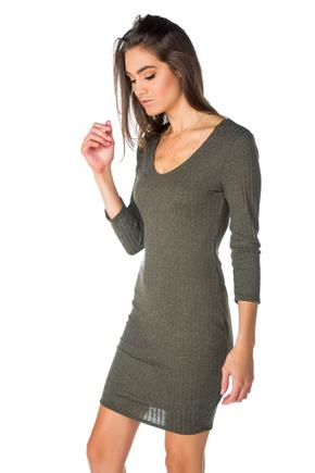 Rib Sweater Knit 3/4 Sleeve V-Neck Dress