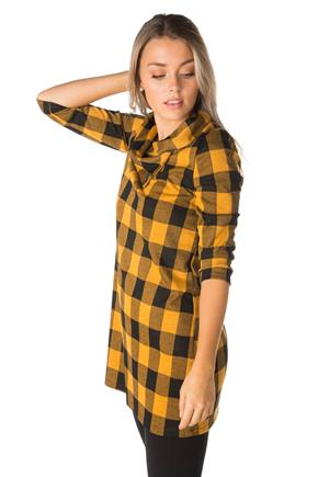 Buffalo Plaid Double Knit 3/4 Sleeve Dress