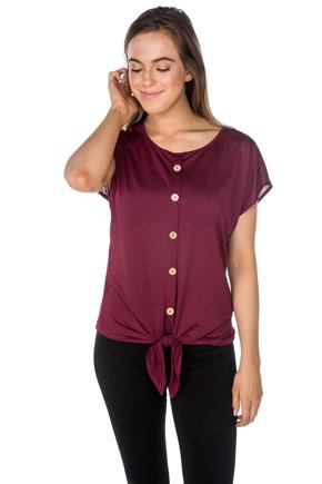 Button Front Top with Short Sleeves and Front Tie