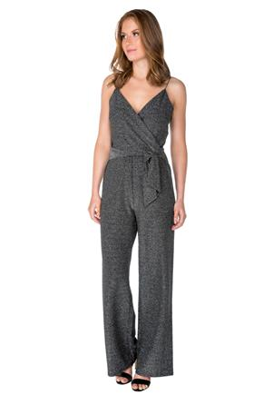 Glitter Knit Crossover Jumpsuit