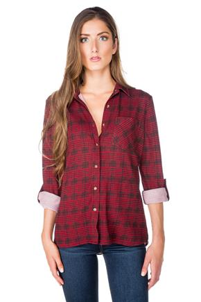 Houndstooth Plaid Sherpa-Lined Shirt