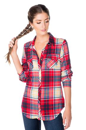 Plaid Shirt with Roll-up Sleeves and Shirttail Hem