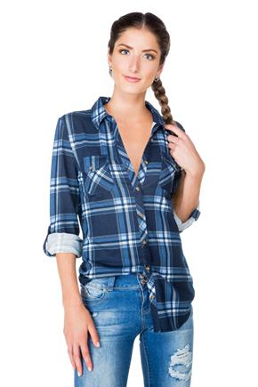 Plaid Shirt with Shirttail Hem and Roll-up Sleeves