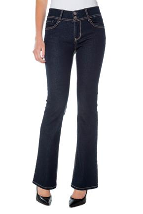 WallFlower Dark Wash Mid-Rise Curvy Bootcut Jean