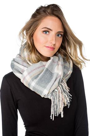 Neutral Plaid Oblong Scarf with Fringe