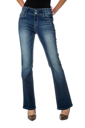 WallFlower Dark Wash Mid-Rise Bootcut Jean