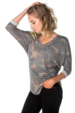 Camo V-neck Tee with Dolman Sleeves