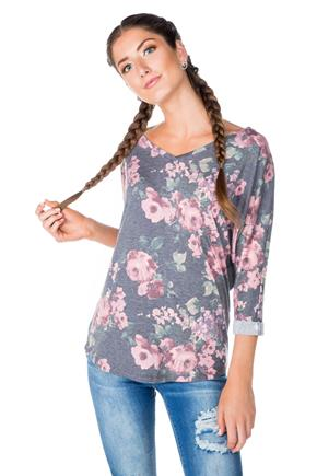 Floral V-neck Tee with Dolman Sleeves