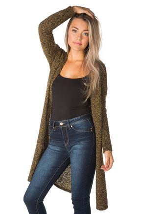 Boucle Open Cardigan with Side Slits