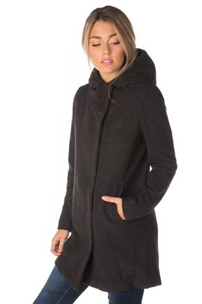 "Only ""Sharon"" Long, Hooded Wool Coat"