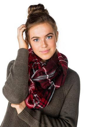 Plaid Infinity Scarf with Fringe Detail