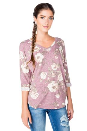 Floral Tee with Dolman Sleeves and V-neck