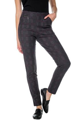 Plaid Skinny Pants with Zipper Pockets