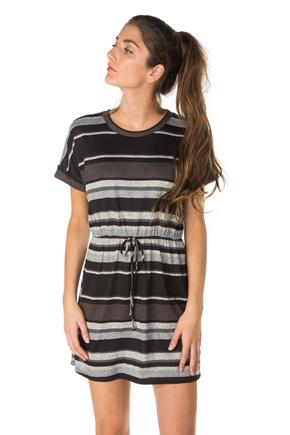 Stripe Hacci Short Sleeve Dress With Tie Waist