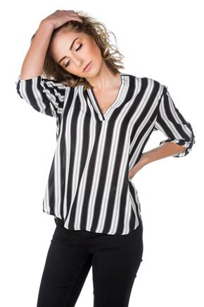 Striped Blouse with Half Placket and Roll-up Sleeves