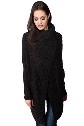 Long Sleeve Wrap Coatigan with Buckle Closure