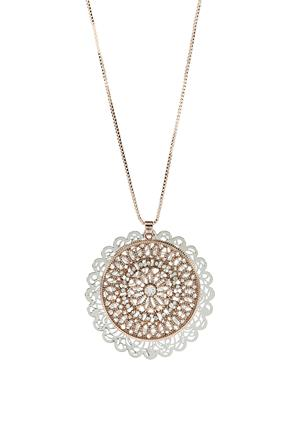 Long Necklace with Double Filigree Pendant