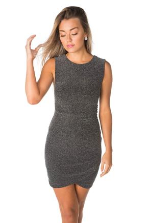 Metallic Knit Dress with Ruching