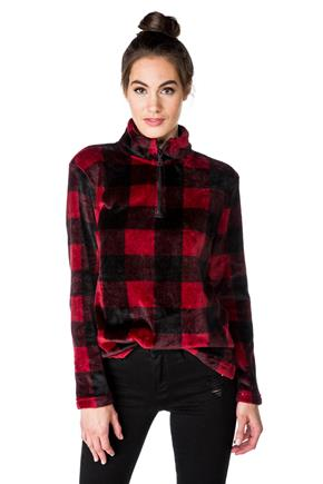 Buffalo Plaid Fuzzy Half-zip Sweatshirt