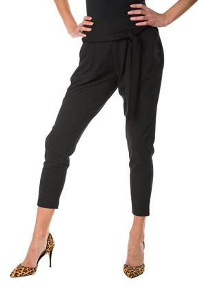 Ankle Length Knit Pant with Tie Belt